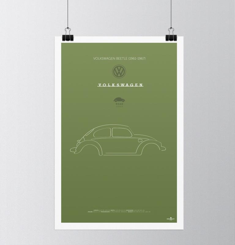 Volkswagen Beetle (1961-67) Car Poster