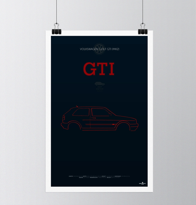 VW Golf GTI MK2 Poster Design