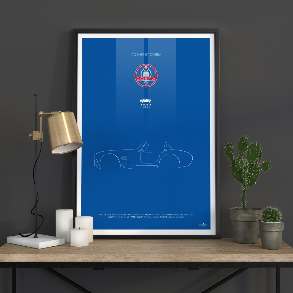 AC Shelby Cobra Poster Mock up poster with a golden lamp