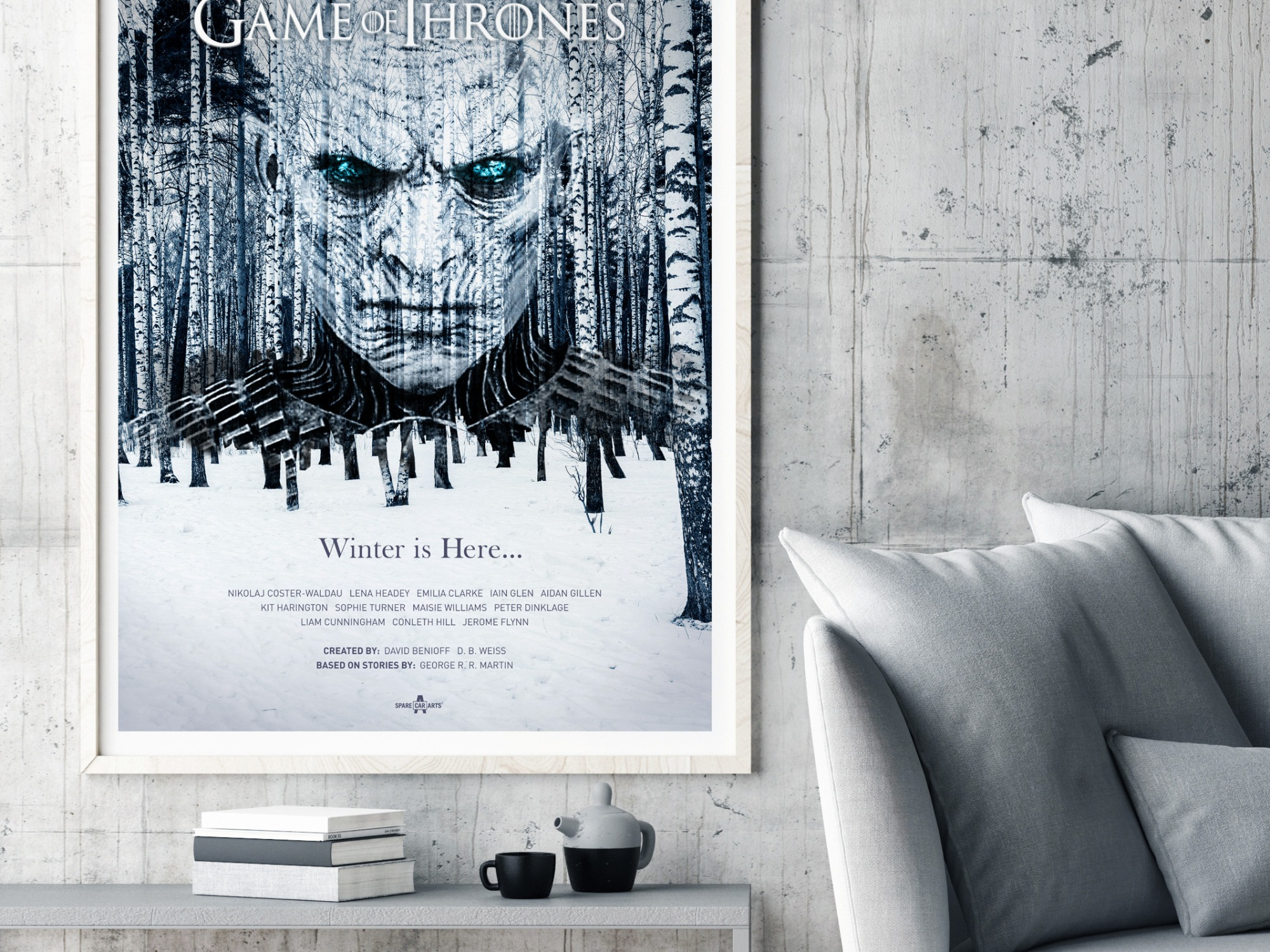 Game of Thrones Poster Framed poster in hipster living room